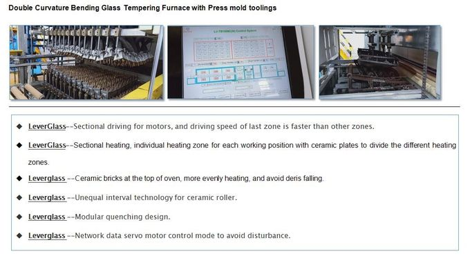 Double Curvature Glass Tempering Furnace for Automotive rear glass / car backlites glass